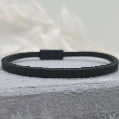 Männerarmband Leder schwarz