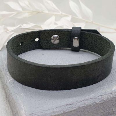 Männerarmband Leder grau