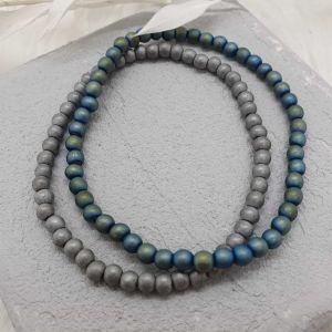 Armband Hematiteperlen grün|blau