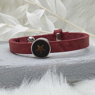 Armband Leder [Schieber silber]