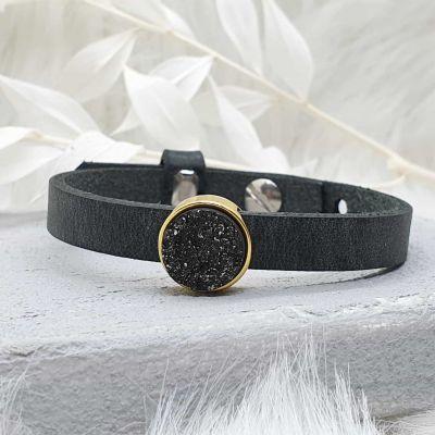 Armband Leder [Schieber gold]