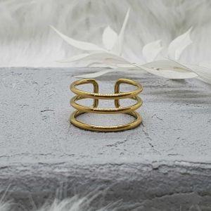 Ring 3-reihig gold [Edelstahl]