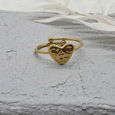 Ring Herz gold [Edelstahl]