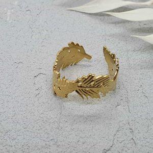 Ring Blätter gold [Edelstahl]