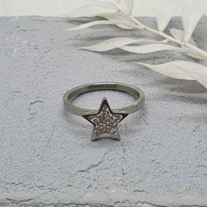 Ring Stern Glitzer silber [Edelstahl]